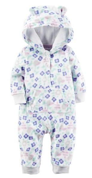 Carter's 連身衣 包屁衣  藍色小花朵長袖刷毛連身衣(刷毛款)