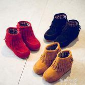 靴子 韓版女童短靴流蘇公主皮靴兒童低筒靴子加絨寶寶棉靴 蓓娜衣都