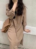 襯衫洋裝 日韓秋冬新款 腰綁排釦連身裙 花漾小姐【現貨】