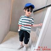 男童T恤短袖新款兒童條紋上衣中大童潮【齊心88】
