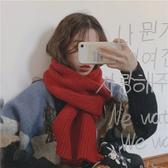 韓版ins毛線針織圍巾女秋冬季加厚保暖圍脖學生純色潮紅色百搭款 歐尼曼家具館