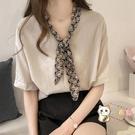 襯衫 夏裝新品韓版女裝領巾雪紡襯衫女短袖大碼寬鬆上衣時尚洋氣襯衣潮 快速出貨免運