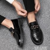 夏季休閒皮鞋男懶人一腳蹬青少年韓版百搭潮流英倫黑色圓頭樂福鞋 有緣生活館