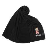 MOSCHINO 經典TOY小熊棉麻混絲薄圍巾(黑色)911003-016