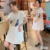 孕婦連身裙小香風洋裝2020夏裝時尚潮媽個性中長款寬鬆T恤短袖上衣女 LR20894『麗人雅苑』