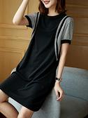 短袖洋裝連身裙大碼L-4XL歐洲站大碼拼條紋短袖連身裙寬松胖mm女裝夏裝D303依佳衣