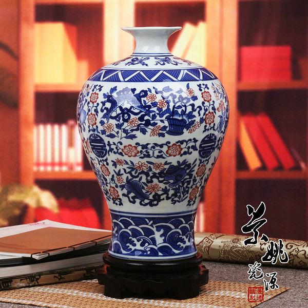景德鎮陶瓷器花瓶 仿古青花釉里紅瓷