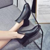 英倫風短靴裸靴裸靴歐美切爾西小短靴女秋粗跟中跟