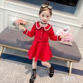 兒童秋裝長袖女童禮服裙子2019新款韓版洋氣大紅公主裙女孩連身裙 LR11436【原創風館】