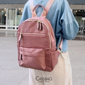 Catsbag| 乾燥玫瑰簡約雙拉鍊防潑水尼龍後背包|C3819