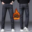 秋冬款休閒牛仔褲男士直筒寬鬆加絨加厚大碼黑色工作長褲青年潮流 3C優購