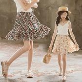 女童短裙 雪紡短裙2021夏季薄款夏天小孩A字兒童中大童碎花半身裙裙子【快速出貨】
