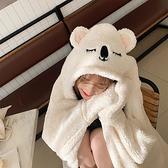 韓版連帽女秋冬保暖加厚可愛披風斗篷懶人毛毯辦公室學生午睡披肩快速出貨