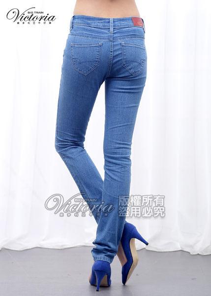 Victoria 中腰配線窄管褲-女-淺藍