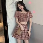 2021夏季新款格子露臍百褶短裙兩件套裝女港風小個子復古洋裝子
