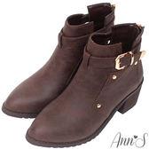Ann'S復古擦色-金釦鏤空後拉鍊粗跟短靴-咖啡色