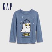 Gap男幼童 童趣精靈圖案圓領長袖T恤 617826-灰藍色