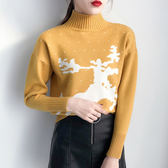 黃色上衣聖誕毛衣提花半高領長袖針織衫學生t寬松H33-907
