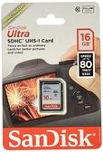 【補貨中】SanDisk Ultra SDHC SD 16Gb 80MB/s C10 U1 記憶卡 16G 【公司貨】