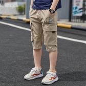 男童夏季短褲工裝褲薄款新款夏款中褲五分褲兒童馬褲七分褲潮 快速出貨