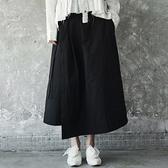 寬褲-水洗做舊不規則綁帶女褲裙73sp12[巴黎精品]