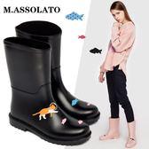 M 春夏新款時尚小馬靴套鞋輕便防滑水雨靴中筒水鞋膠鞋成人雨鞋女  巴黎街頭