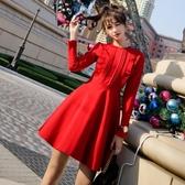 小紅裙復古小紅裙赫本高腰氣質名媛小香風顯瘦收腰蓬蓬連身裙秋紅色禮服 春季新品