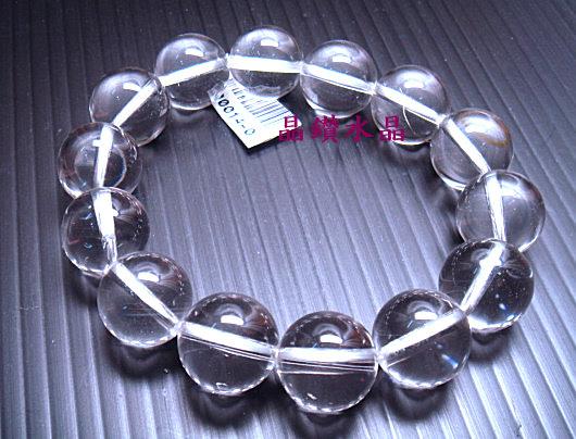 天然白水晶手鍊14mm圓珠3A級 送禮物佳- 附禮盒