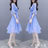 V領印花裙 夏季雪紡連身裙女2019新款女裝小個子五分袖洋裝氣質顯瘦 JA6603『毛菇小象』