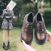 日系復古平底單鞋學生原宿圓頭娃娃鞋百搭韓版學院風英倫小皮鞋女
