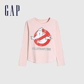 Gap女童 純棉舒適印花圓領長袖T恤 618478-淡粉色