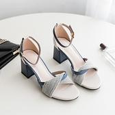 粗跟涼鞋女2021夏季新款韓版時尚百搭溫柔仙女風一字扣帶高跟鞋女