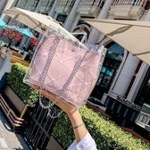 水桶包夏季透明2020新款百搭潮韓版水桶流行時尚手提斜挎包果凍包完美