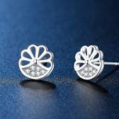 耳環 925純銀鑲鑽-鏤空花瓣生日情人節禮物女飾品73hk33[時尚巴黎]