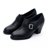 MICHELLE PARK 女爵風範 皮帶高跟踝靴-黑