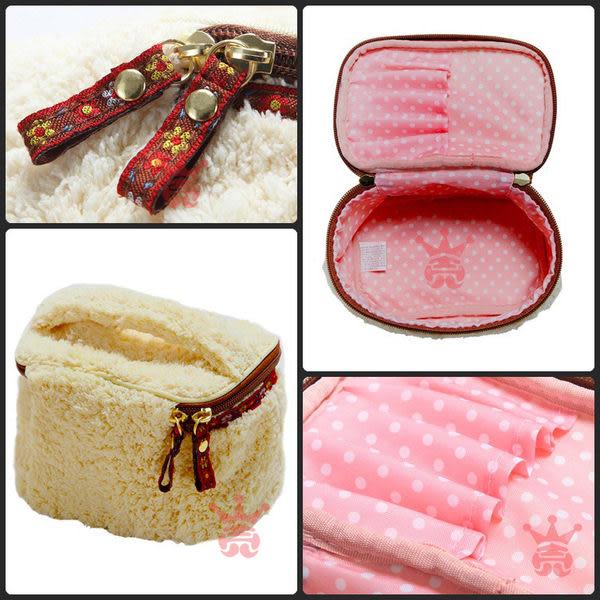 超萌物!日本cram cream.甜美舒柔絨.毛絨.手提化妝包.收納袋.收納包.萬用包.多用包