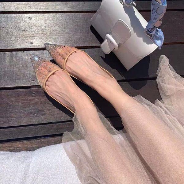 2019新款chic滿天星網紗仙女鞋平底婚鞋韓版尖頭淺口平底水鉆單鞋 宜品