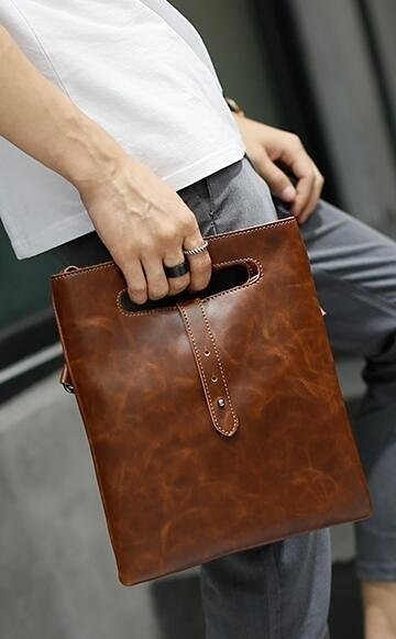 FINDSENSE Z1 韓國 時尚 潮 男 皮質 複古 手拿包 防水小背包 皮