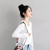 打底純棉白色t恤女長袖初秋裝年新款薄韓版寬鬆打底衫內搭黑上衣 【快速出貨】