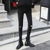 黑色破洞牛仔褲女八分小腳2019春新款韓版高腰緊身乞丐九分鉛筆褲