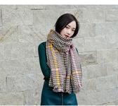 圍巾 彩條 千鳥格 仿羊絨 流蘇邊 時尚 保暖 披肩 圍巾【Fzr3018】 BOBI