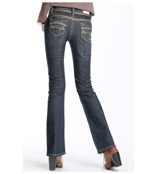 BOBSON 女款金色出芽小喇叭牛仔褲(9062-52)