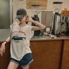 無袖T恤 女夏季美式復古印花坎肩短袖2021新款寬松白色背心上衣潮【快速出貨】