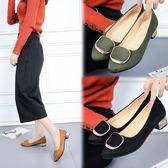 春夏新款韓版尖頭淺口套腳低跟單鞋女百搭平跟金屬裝飾粗跟鞋  卡布奇諾