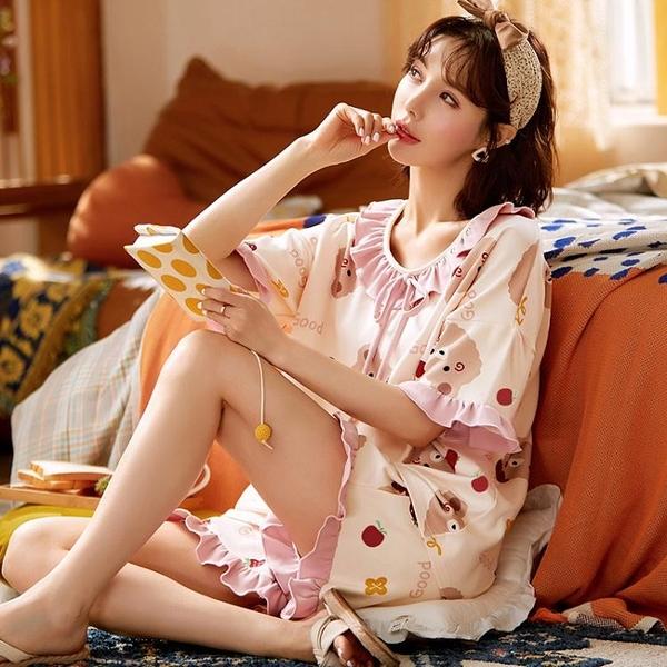 2021新款睡衣女夏季純棉卡通短袖女士休閒薄款春秋家居服兩件套裝 ATF艾瑞斯「快速出貨」