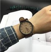 手錶女學生韓版簡約潮流ulzzang女錶時尚皮帶男錶休閒情侶石英錶 QM 向日葵