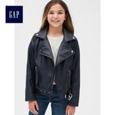 Gap女童 休閒人造皮革長袖機車夾克 496256-海軍藍色