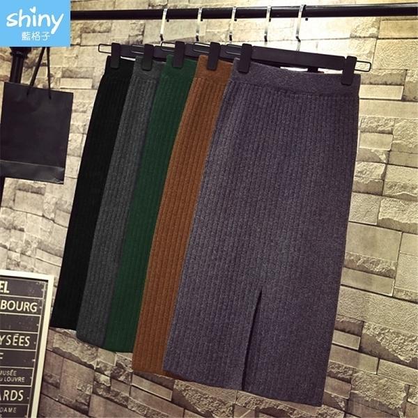 【V2737】shiny藍格子-復古美感.開叉針織包臀中長款半身裙