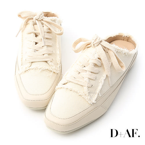 休閒鞋 D+AF 自在主打.帆布抽鬚方頭休閒穆勒鞋*米白