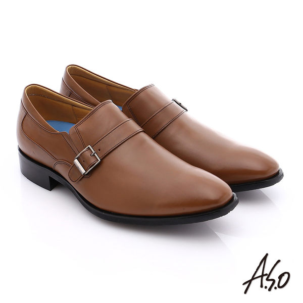 A.S.O 菁英通勤 小牛皮飾帶奈米紳士皮鞋  茶